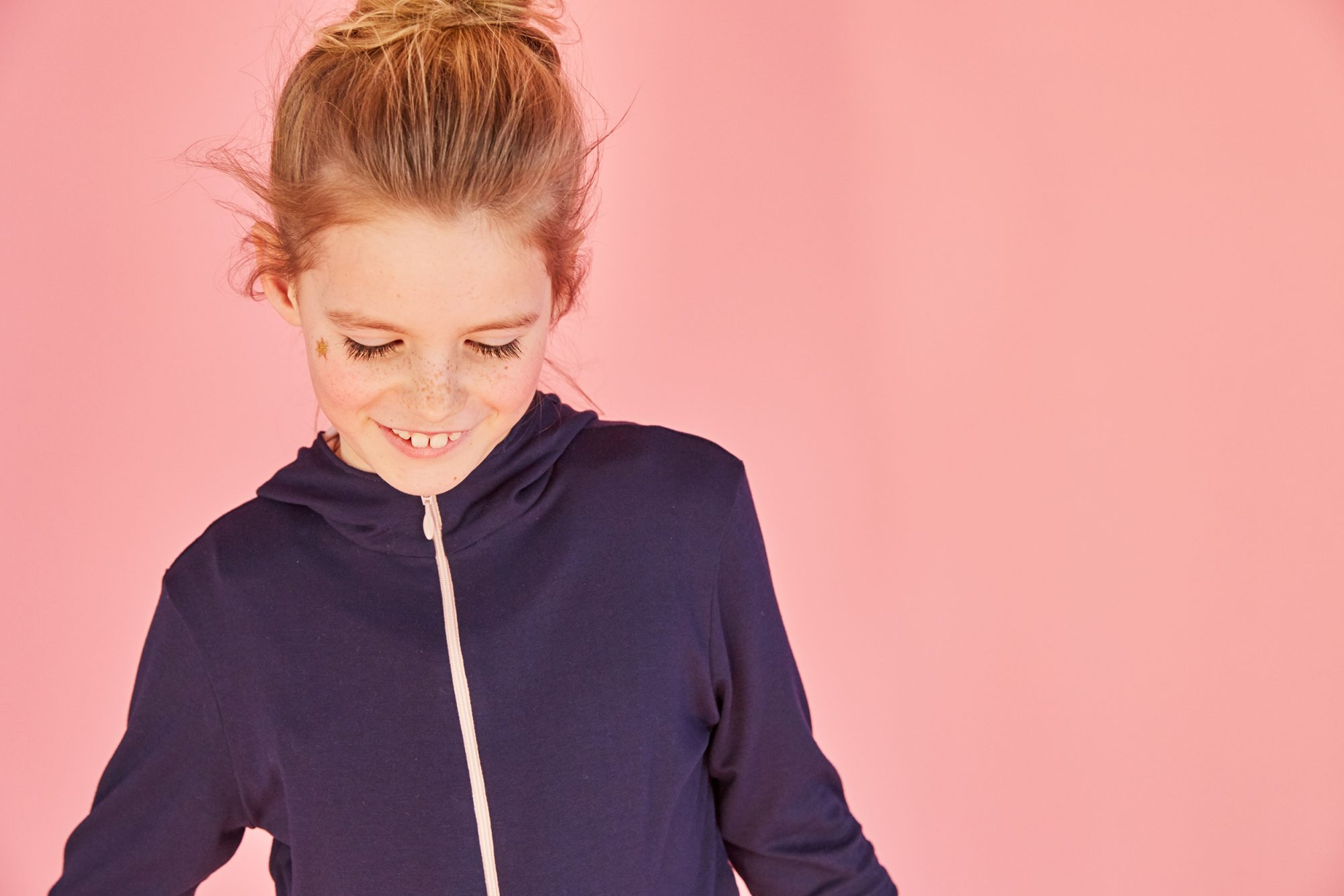 Girls super soft navy and dusky pink hooded jacket