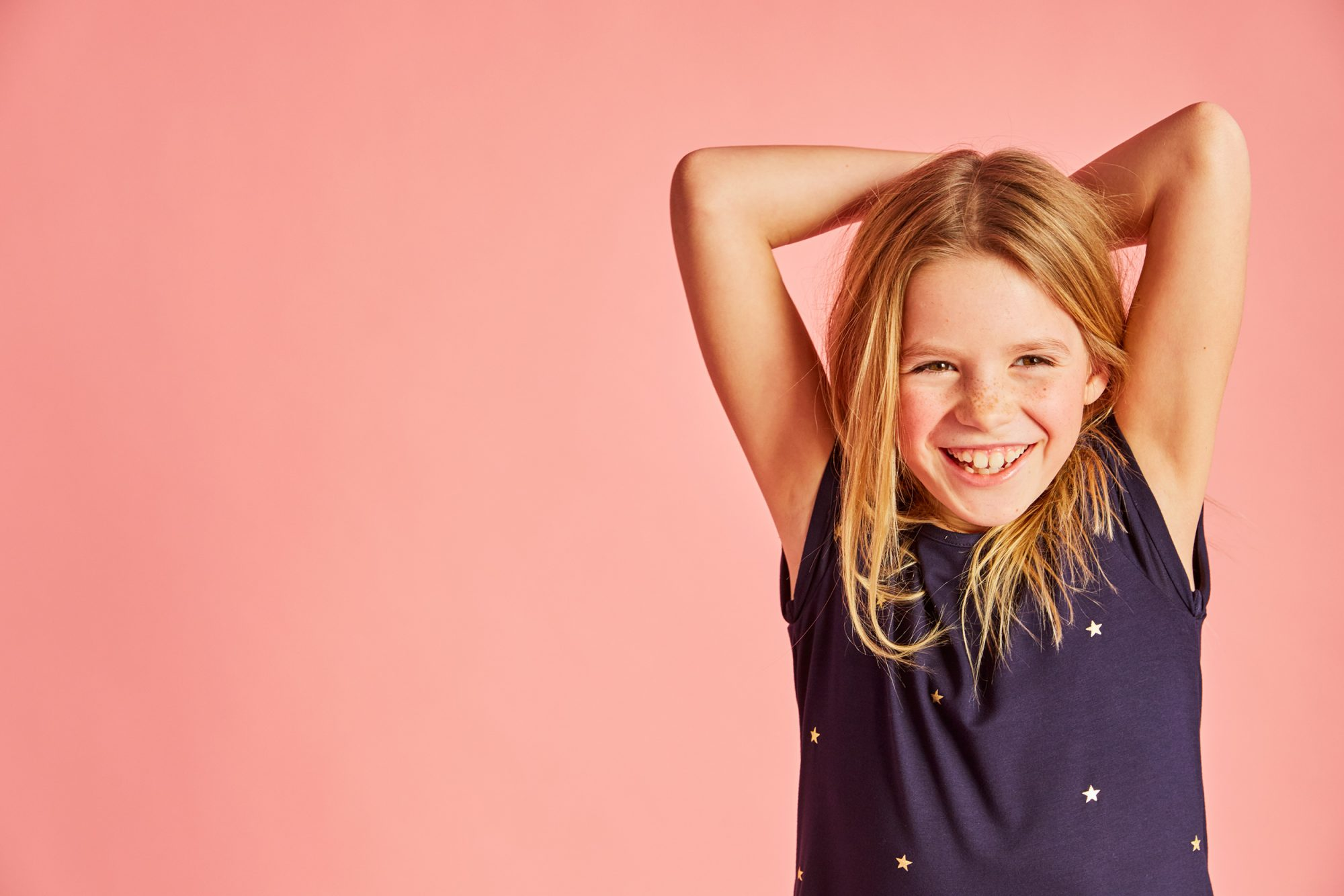 Girls navy and gold star print pleated dress