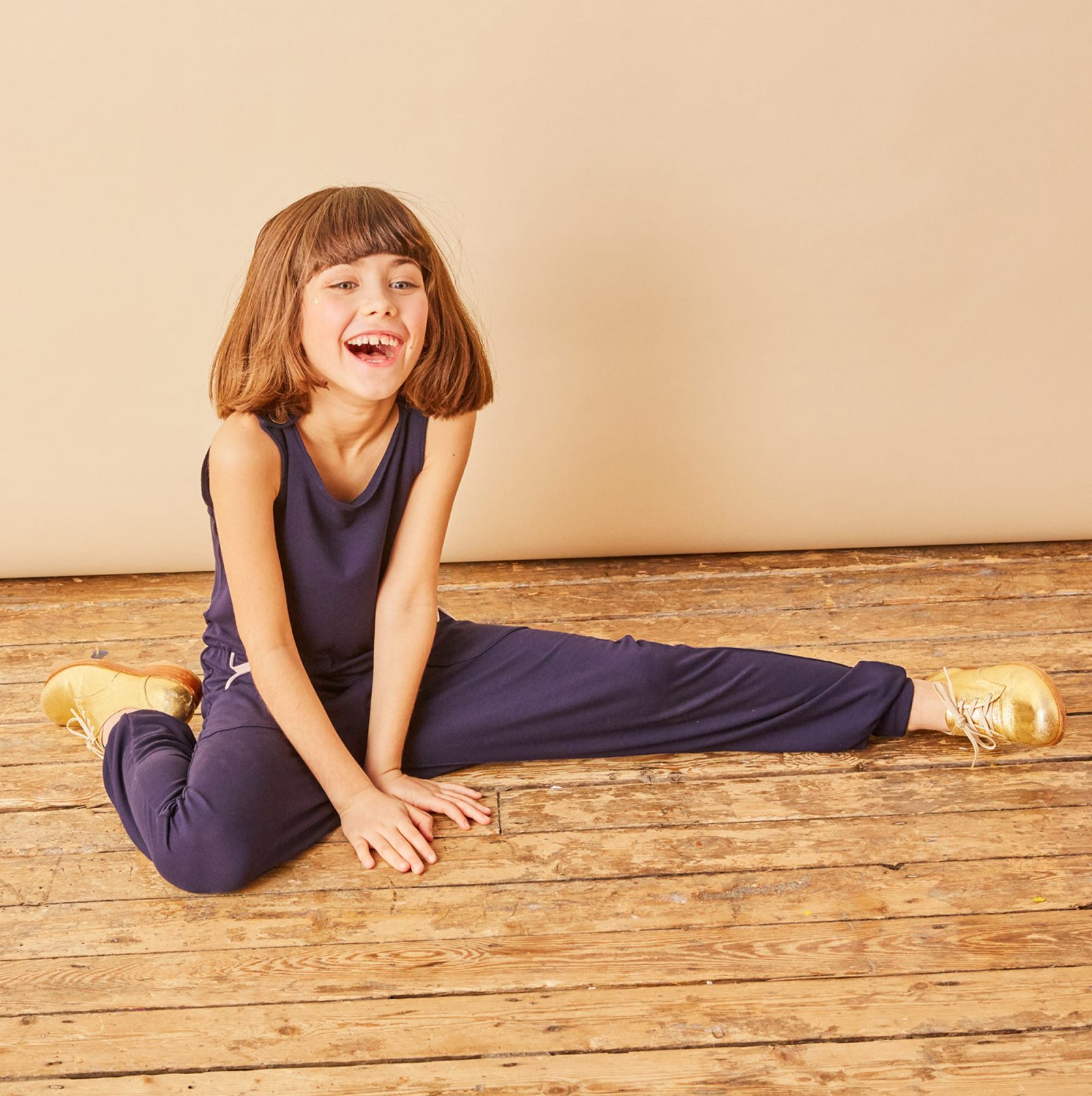 Girls soft jersey navy blue jumpsuit