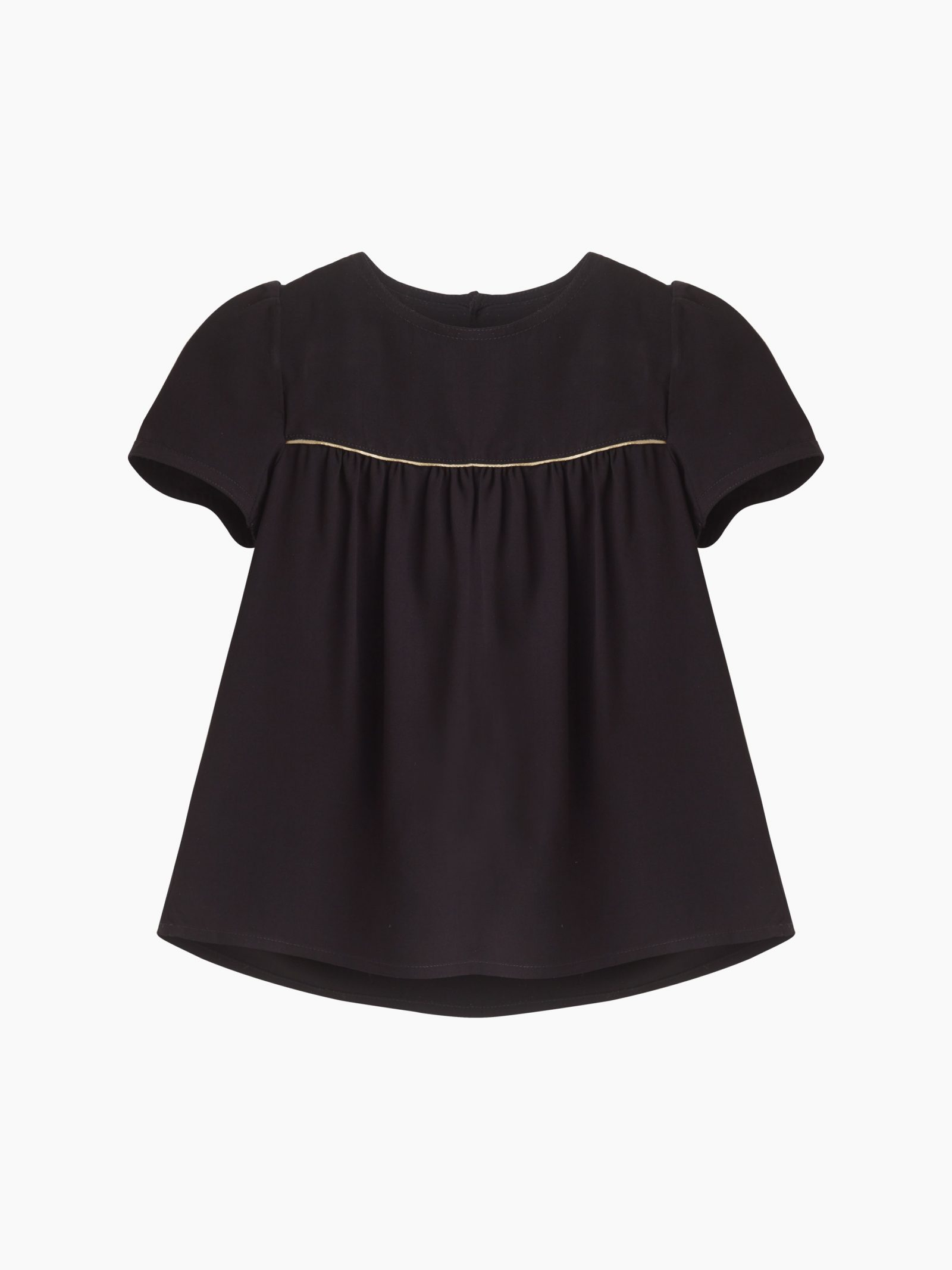 Girls black blouse with gold piping