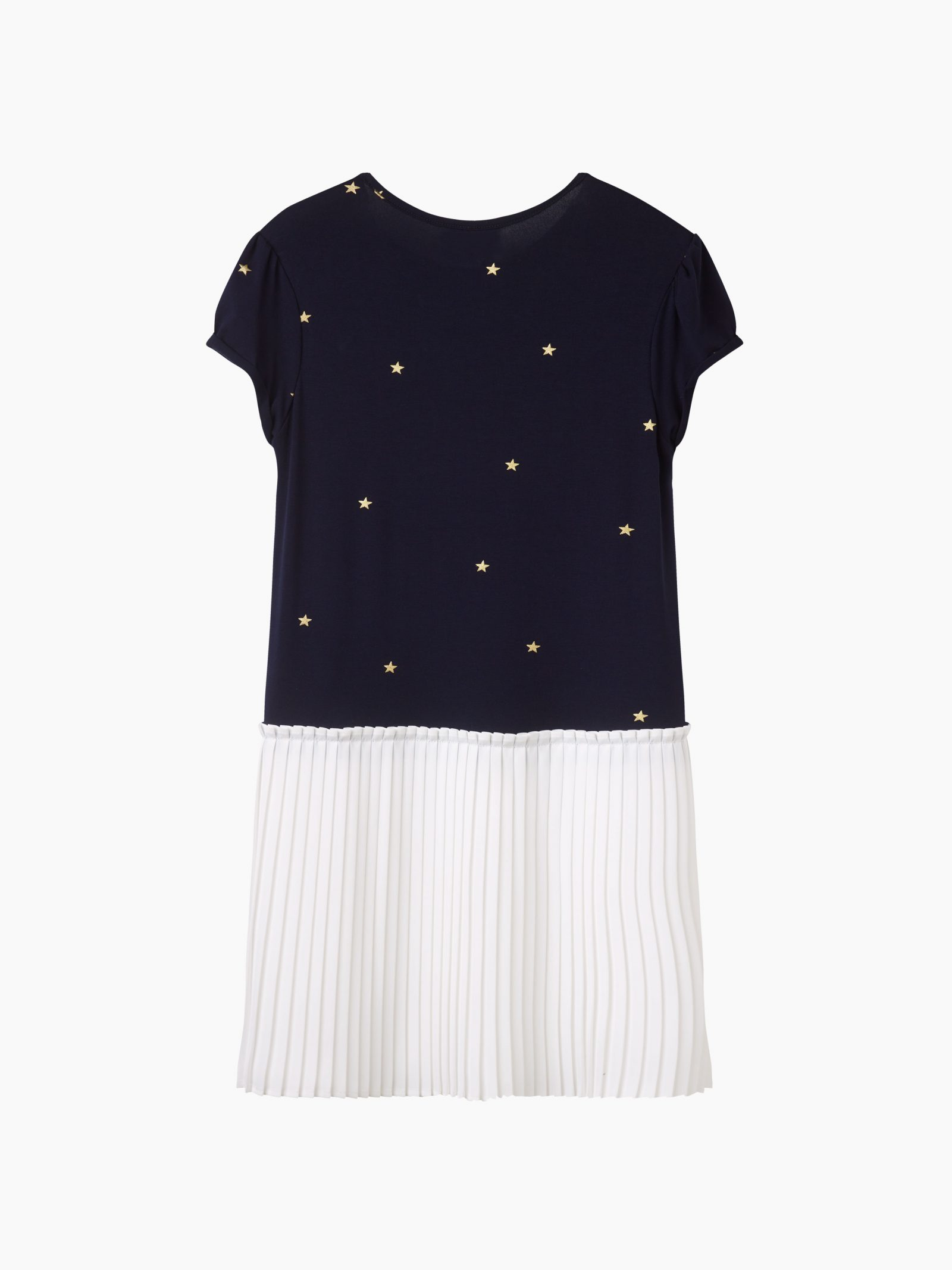 Girls navy and gold star pleated dress