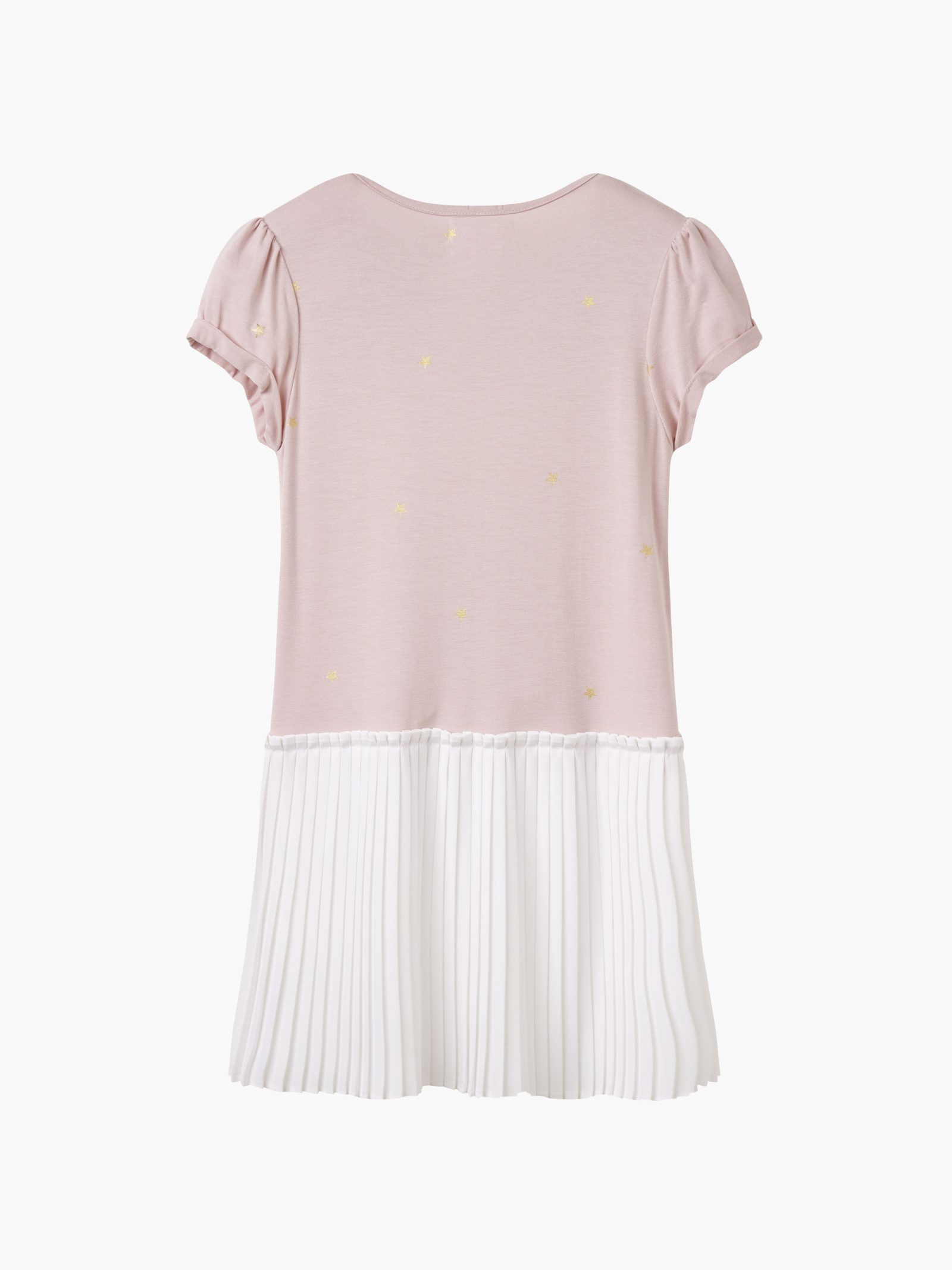 Girls dusky pink and gold star pleated dress