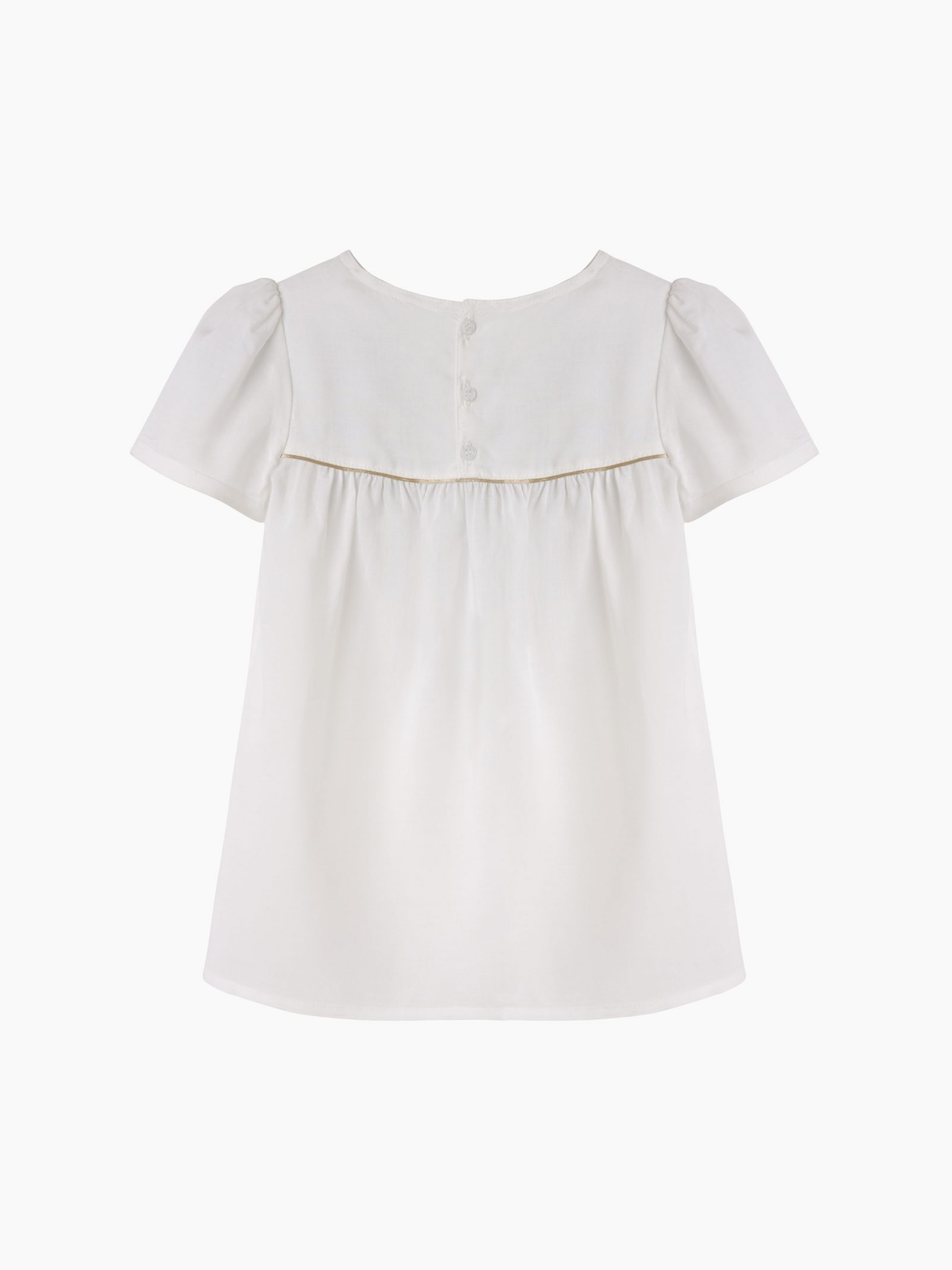 Girls ivory blouse with gold piping