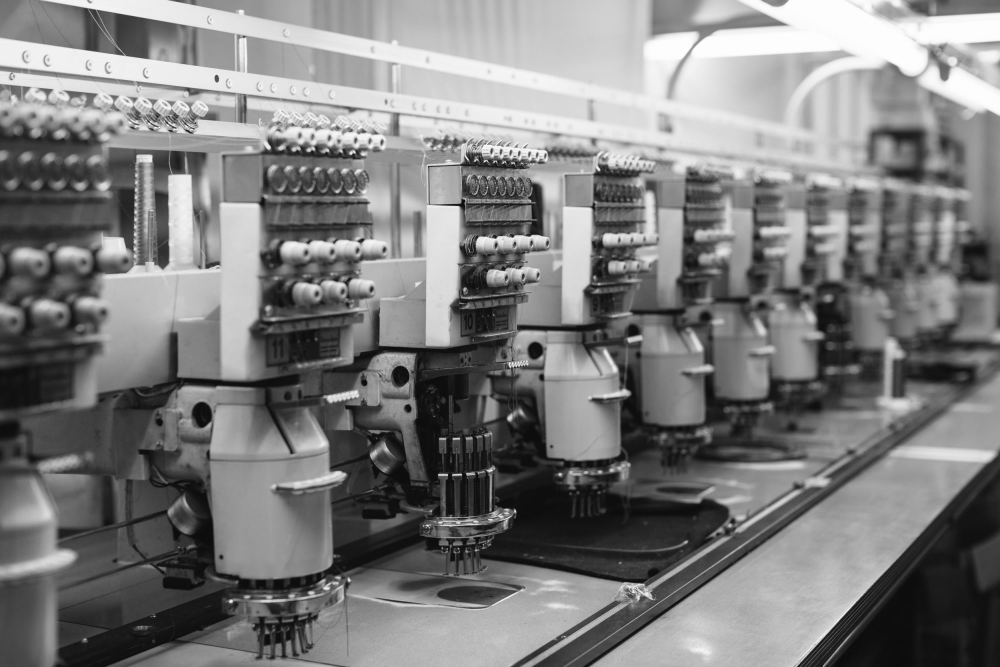 Embroidery machines in British clothing factory