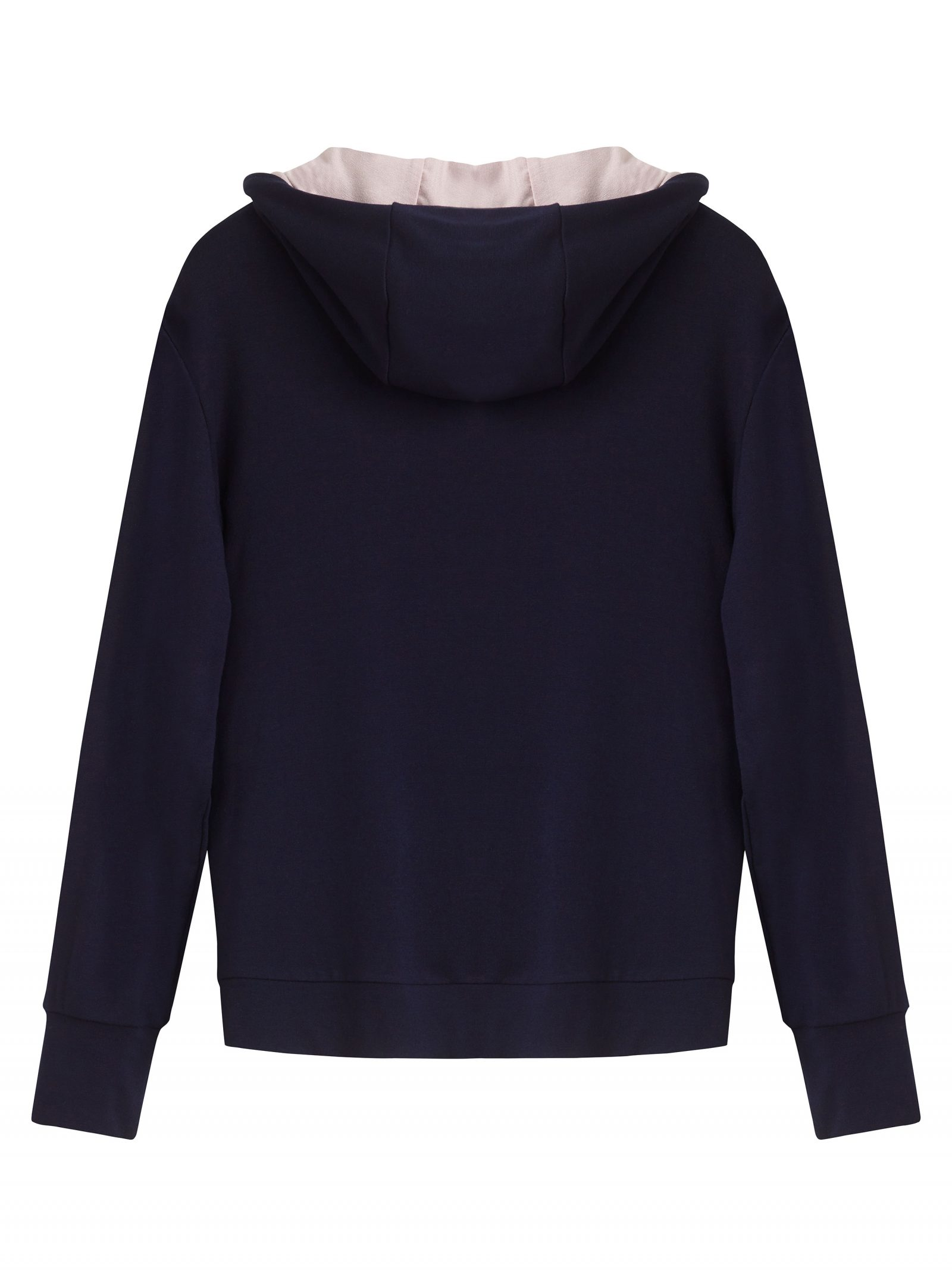 Girls pink and navy soft jersey hooded jacket