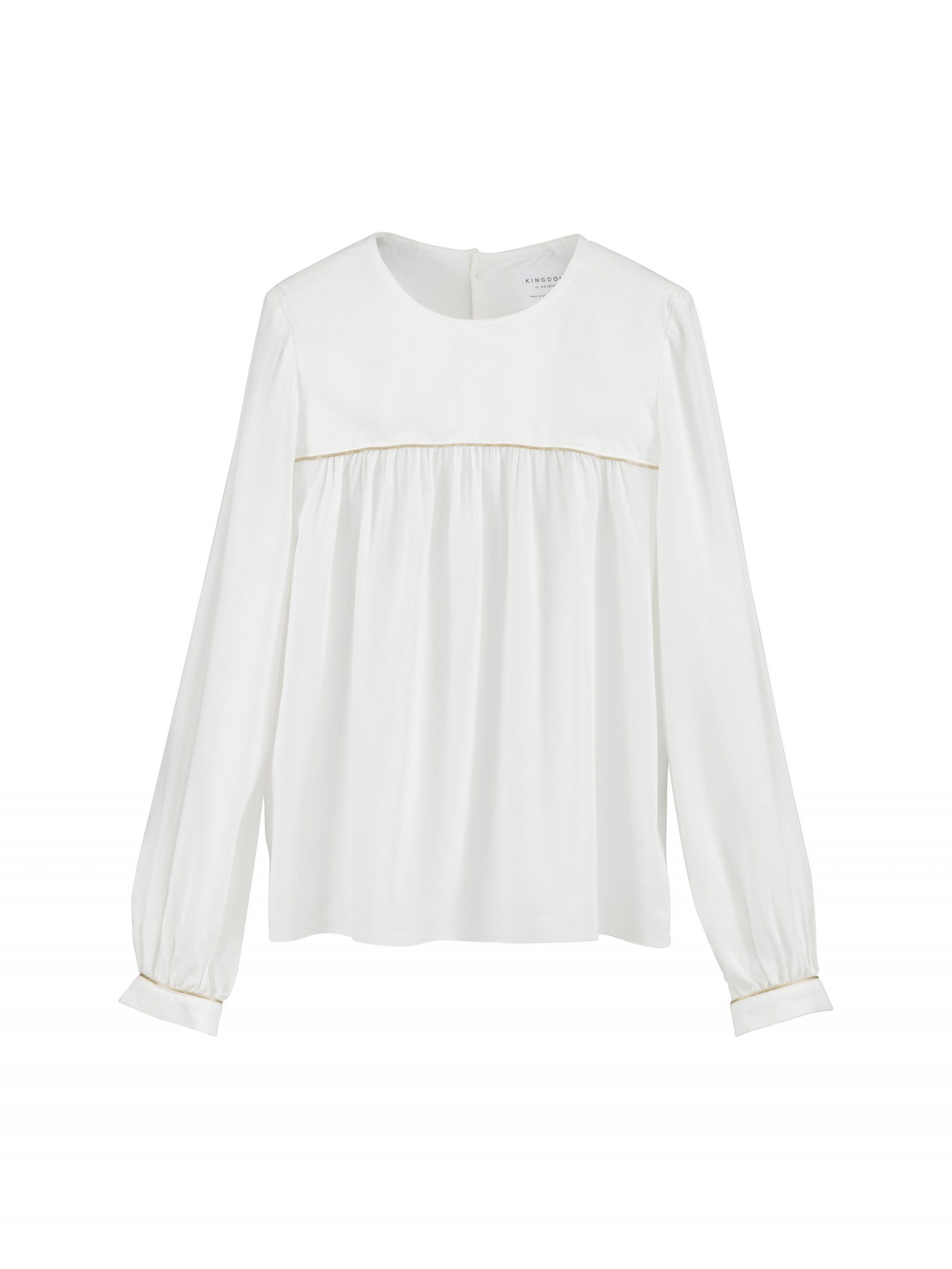 Pattie Long Sleeve Blouse in Ivory - Front