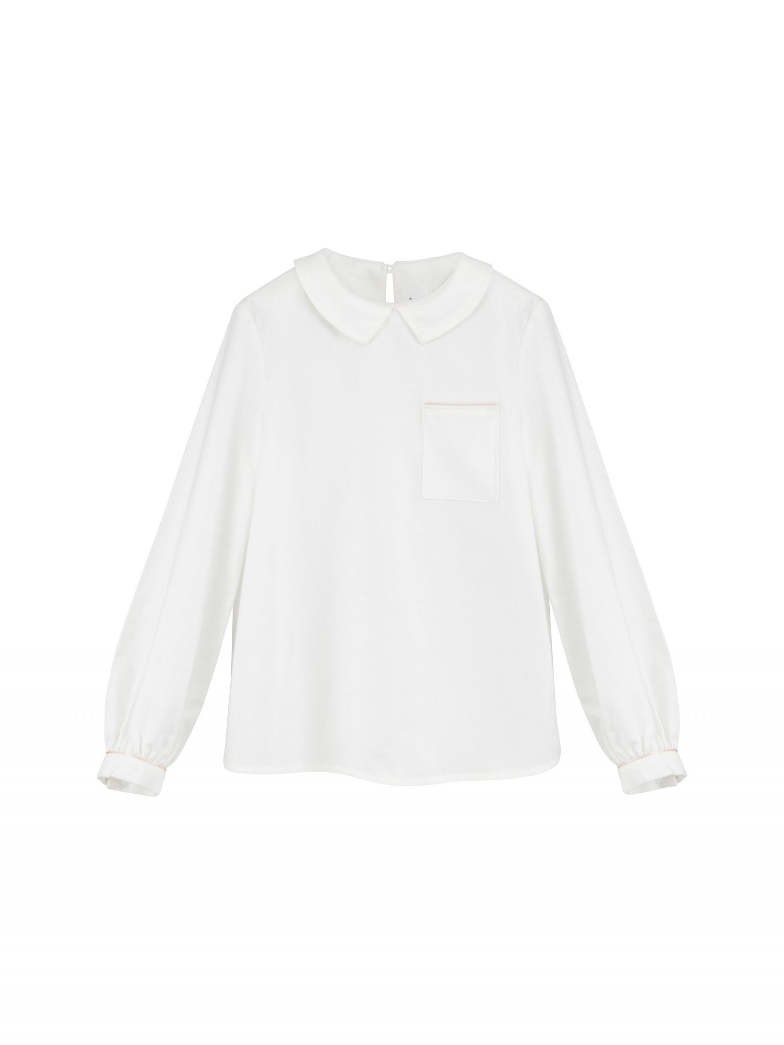 Audrey Long Sleeve Blouse in Ivory - Front
